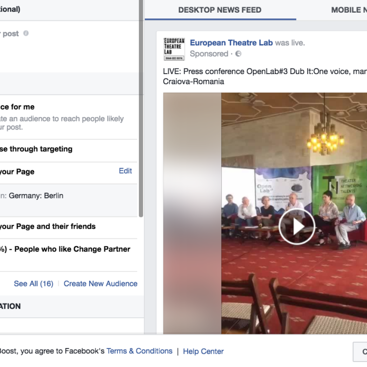 Facebook Boost offers you quite a few options