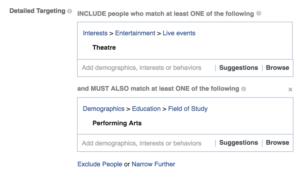 Detailed Targeting interface of Facebook Ads